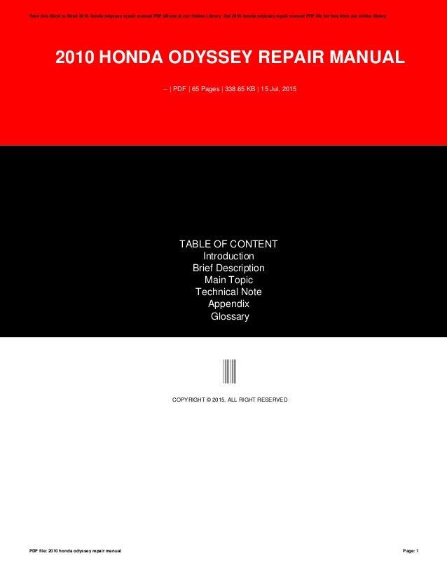 2010 honda odyssey repair manual rh slideshare net 2010 honda odyssey shop manual 2010 honda odyssey repair manual pdf free