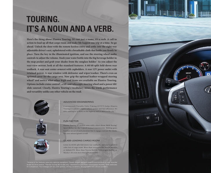 touring. it's a noun and a vErb. Here's the thing about Elantra Touring: It's not just a name, it's a verb. A call to acti...