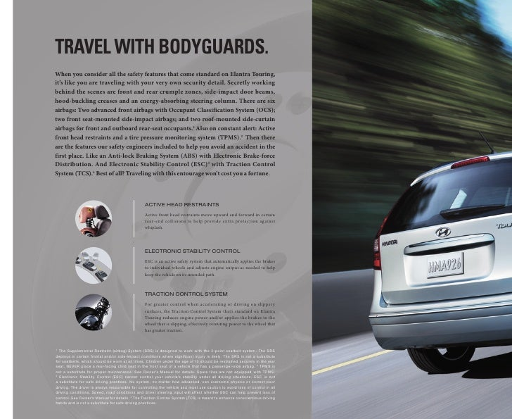 travEl with bodyguards. When you consider all the safety features that come standard on Elantra Touring, it's like you are...