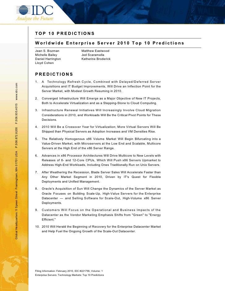 TOP 10 PREDICTIONS                                                                 Worldwide Enterprise Server 2010 Top 10...