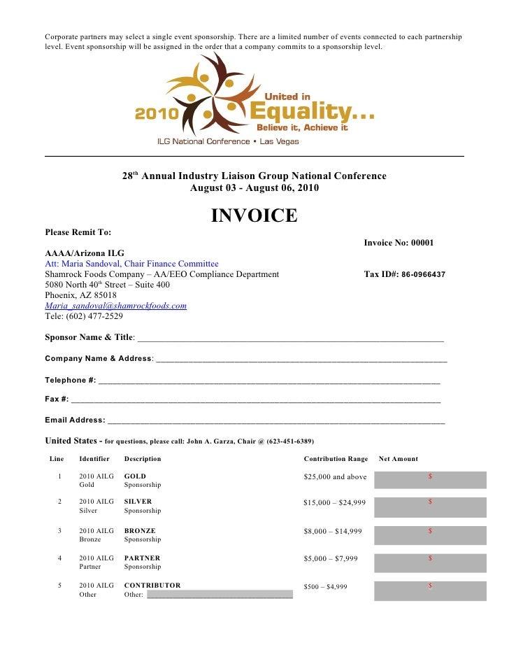 2010 Ilg Invitation Sponsorship – Sponsorship Invoice