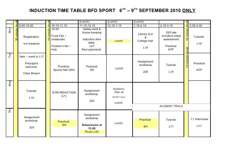 INDUCTION TIME TABLE BFD SPORT 6TH – 9TH SEPTEMBER 2010 ONLY       30 minute break                                        ...