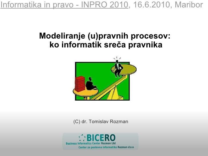 Modeliranje (u)pravnih procesov: ko informatik sreča pravnika Informatika in pravo - INPRO 2010 , 16.6.2010, Maribor (C) ...