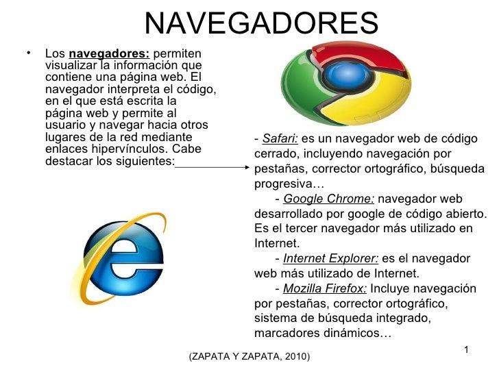 NAVEGADORES <ul><li>Los  navegadores:  permiten visualizar la información que contiene una página web. El navegador interp...