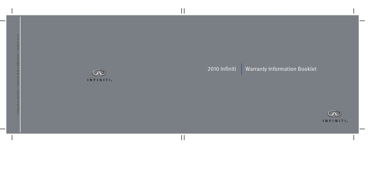 2010 Infiniti   Warranty Information Booklet