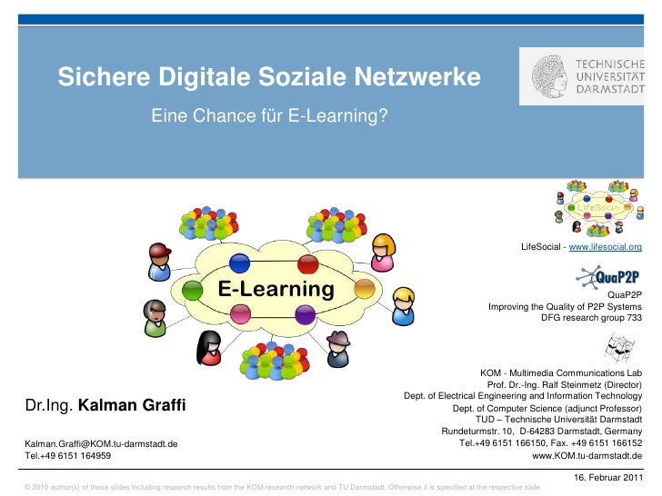 Sichere Digitale Soziale Netzwerke                                      Eine Chance für E-Learning?                       ...