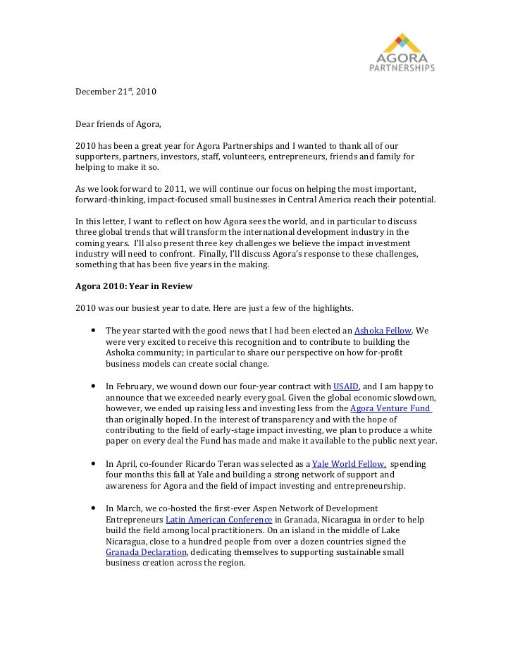 Agora's Letter to Stakeholders 2010