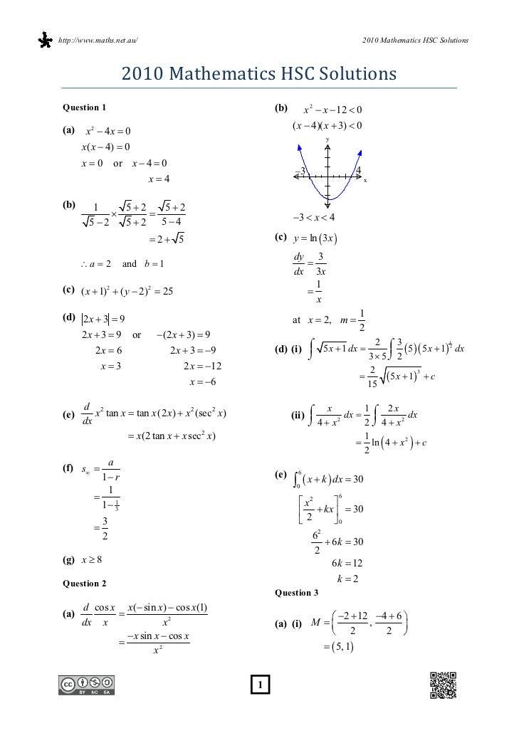 http://www.maths.net.au/                                                            2010 Mathematics HSC Solutions        ...
