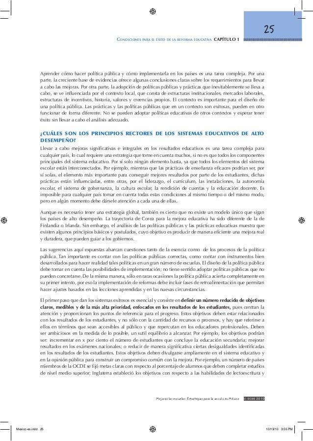25 Condiciones para el éxito de la reforma educativa capítulo 1 © OCDE2010Mejorar las escuelas: Estrategias para la acci...