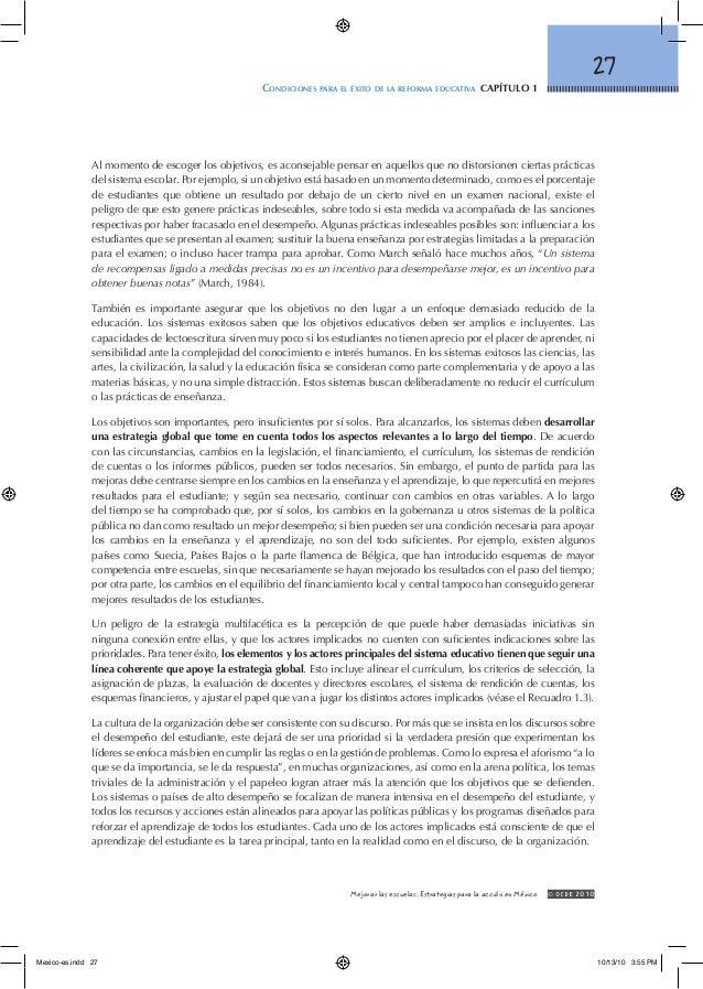 27 Condiciones para el éxito de la reforma educativa capítulo 1 © OCDE2010Mejorar las escuelas: Estrategias para la acci...
