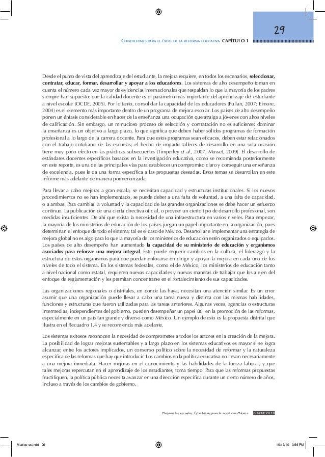 29 Condiciones para el éxito de la reforma educativa capítulo 1 © OCDE2010Mejorar las escuelas: Estrategias para la acci...