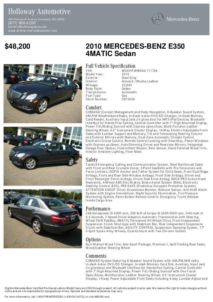 2010 Mercedes Benz E Class E350 For Sale At 17520862 Pdf