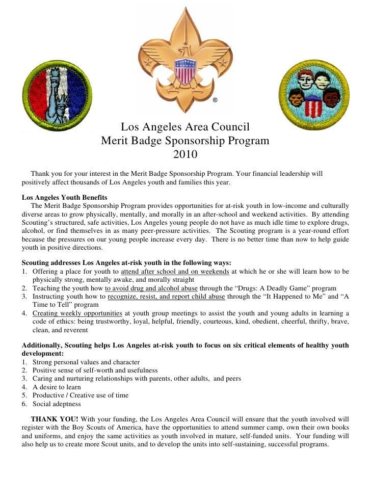 Los Angeles Area Council                             Merit Badge Sponsorship Program                                      ...