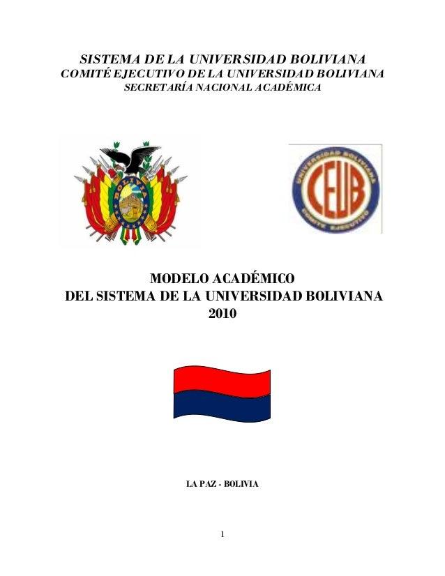 1 SISTEMA DE LA UNIVERSIDAD BOLIVIANA COMITÉ EJECUTIVO DE LA UNIVERSIDAD BOLIVIANA SECRETARÍA NACIONAL ACADÉMICA MODELO AC...