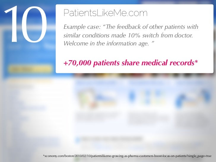 """10            PatientsLikeMe.com              Example case: """"The feedback of other patients with              similar cond..."""