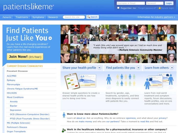 The Business Model behind PatientsLikeMe.com   a community platform for patients   Forget privacy, people are sharing more...