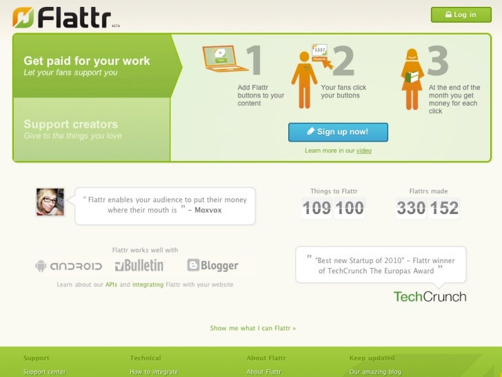 The Business Model behind Flattr.com   a service to structure donations for content   You decide wich fee you give monthly...
