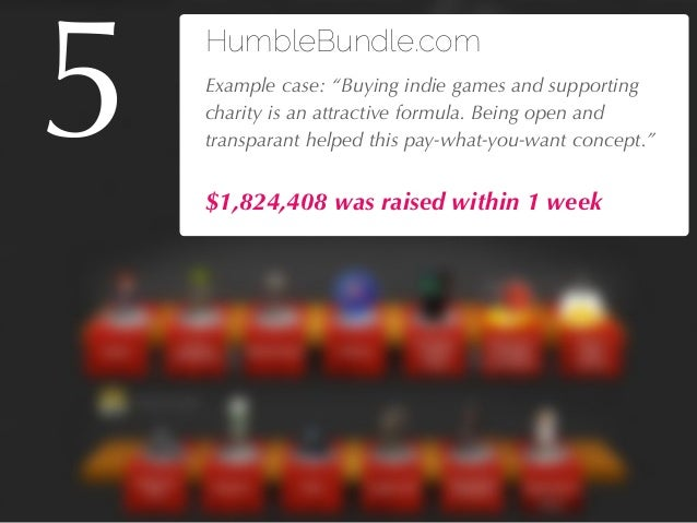 """27/04/10 HumbleBundle.com !Example case: """"Buying indie games and supporting charity is an attractive formula. Being open a..."""