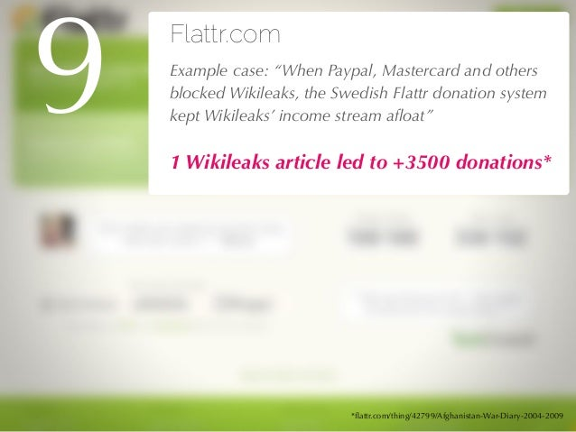 """27/04/10 Flattr.com !Example case: """"When Paypal, Mastercard and others blocked Wikileaks, the Swedish Flattr donation syst..."""