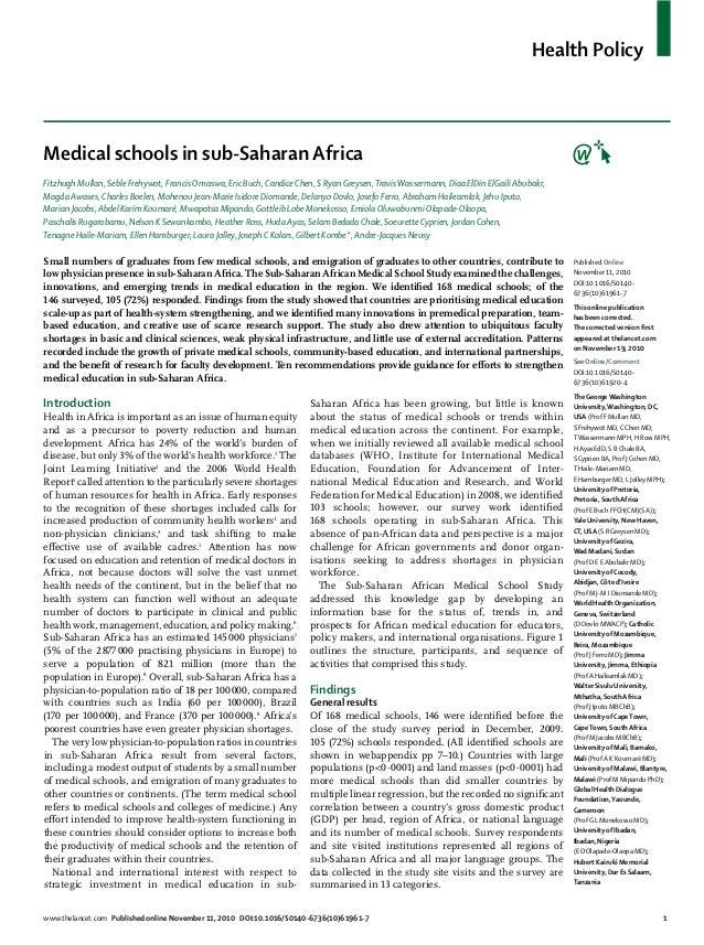 Health PolicyMedical schools in sub-Saharan AfricaFitzhugh Mullan, Seble Frehywot, Francis Omaswa, Eric Buch, Candice Chen...