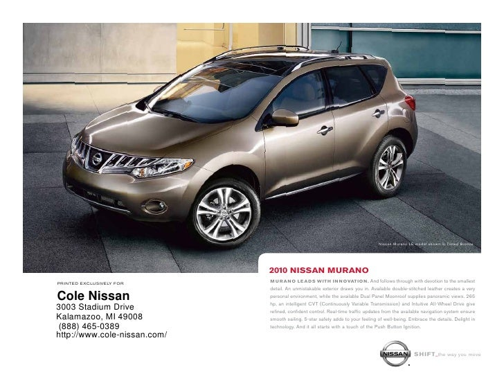 Beautiful 2010 Nissan Murano Cole Nissan Kalamazoo MI. Nissan Murano LE Model Shown  In Tinted Bronze.