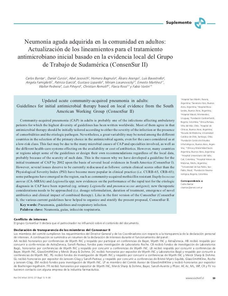 Suplemento      Neumonía aguda adquirida en la comunidad en adultos:       Actualización de los lineamientos para el trata...