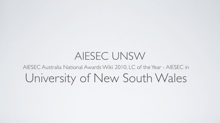 AIESEC UNSW AIESEC Australia National Awards Wiki 2010, LC of the Year - AIESEC in  University of New South Wales