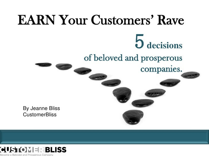 EARN Your Customers' Rave<br />5decisions <br />of beloved and prosperous companies. <br />By Jeanne Bliss<br />CustomerBl...