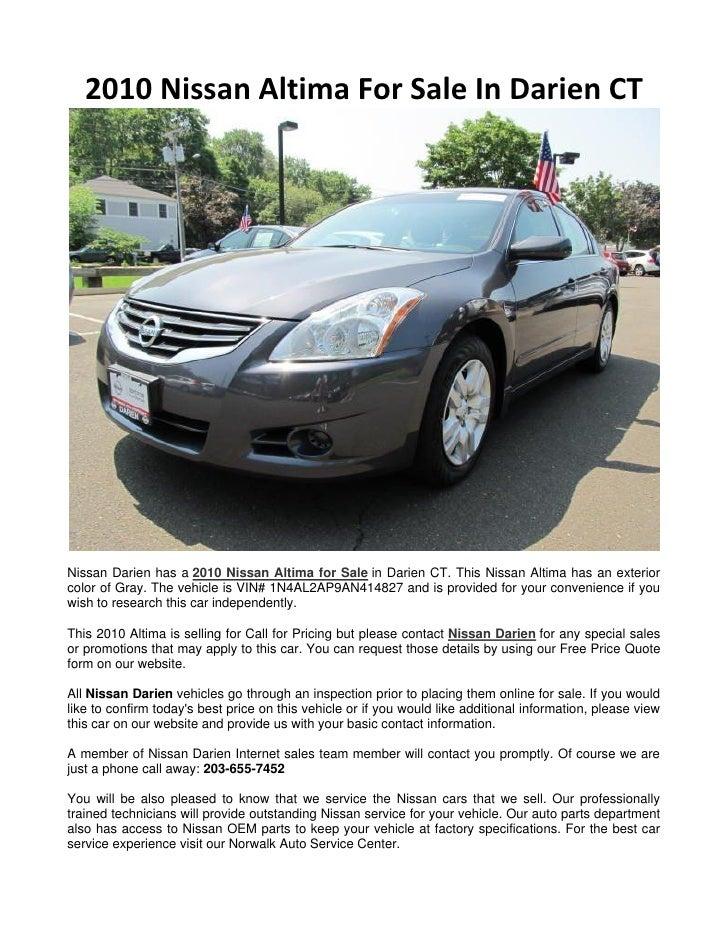 2010 Nissan Altima For Sale In Darien Ct