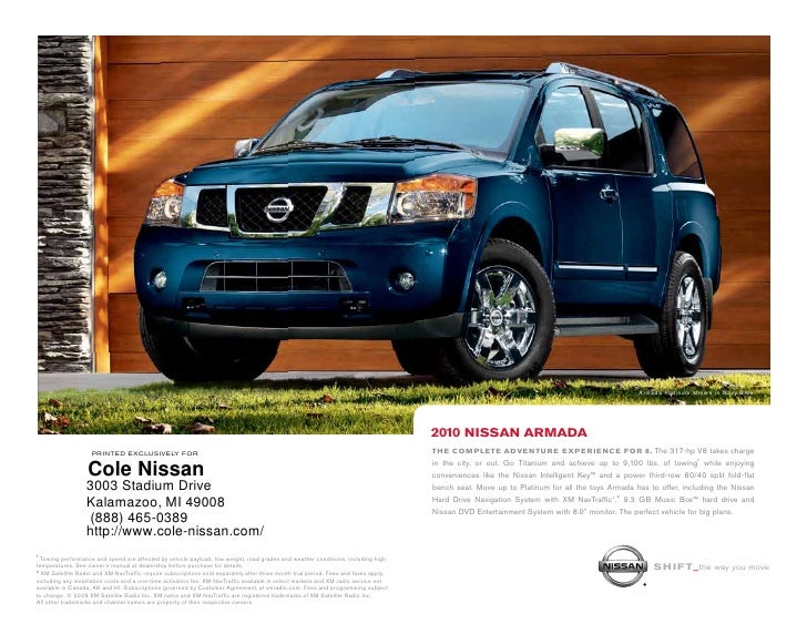 2010 Nissan Armada Cole Nissan Kalamazoo MI. Armada Platinum Shown In Navy  Blue.