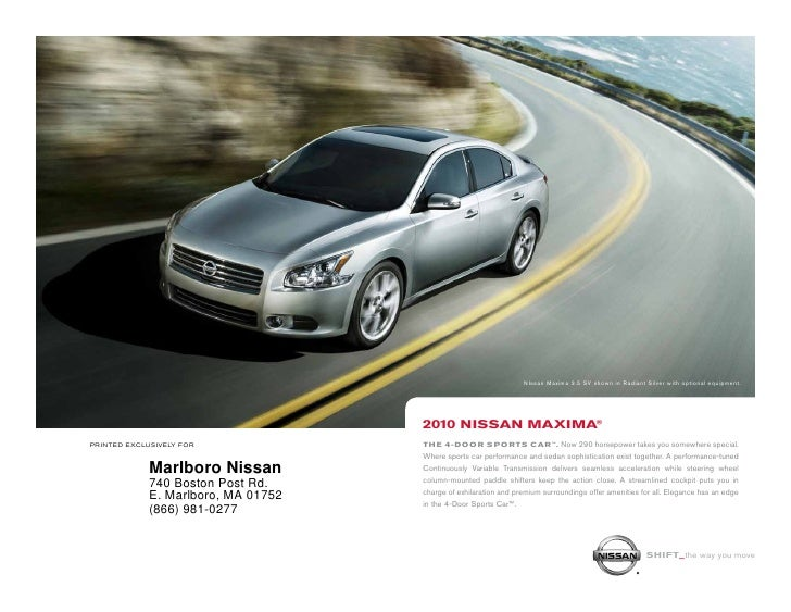 NIssan Maxima 3.5 SV shown in Radiant Silver with optional equipment.                                          2010 NiSSAN...