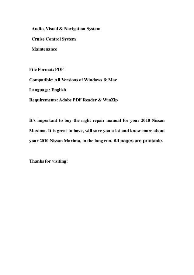 2010 nissan maxima service repair workshop manual download rh slideshare net 2010 nissan maxima service manual 2015 Maxima