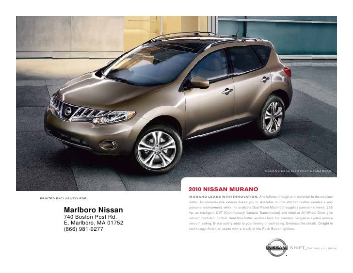 Nissan Murano LE model shown in Tinted Bronze.                                        2010 nissan Murano printed exclusive...