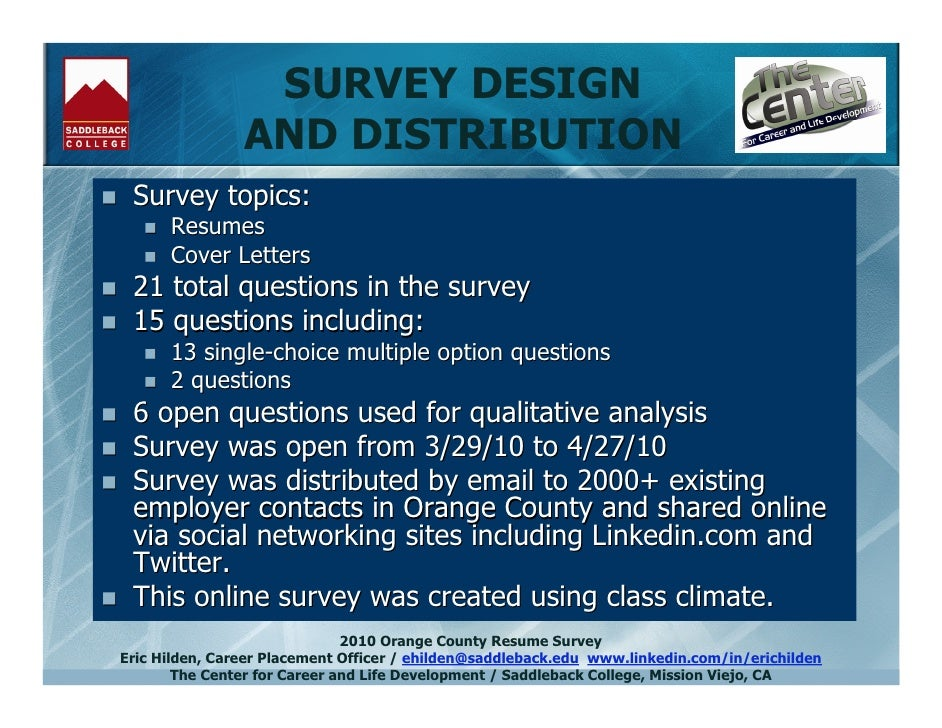 2010 orange county resume survey results