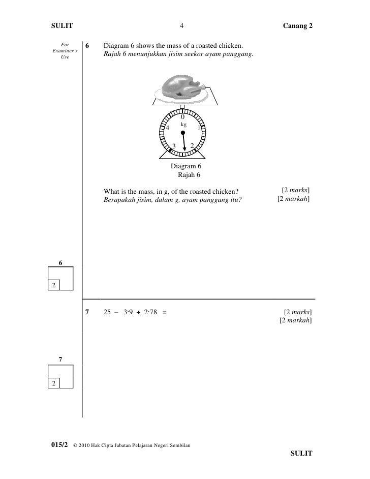 Soalan Matematik Tahun 6 Jisim Jalan Moran