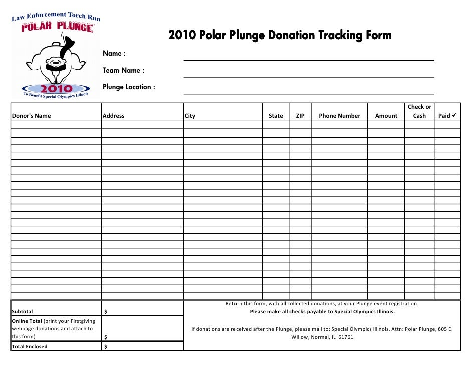 2010 Polar Plunge Donation Tracking Form                                        Name :                                    ...