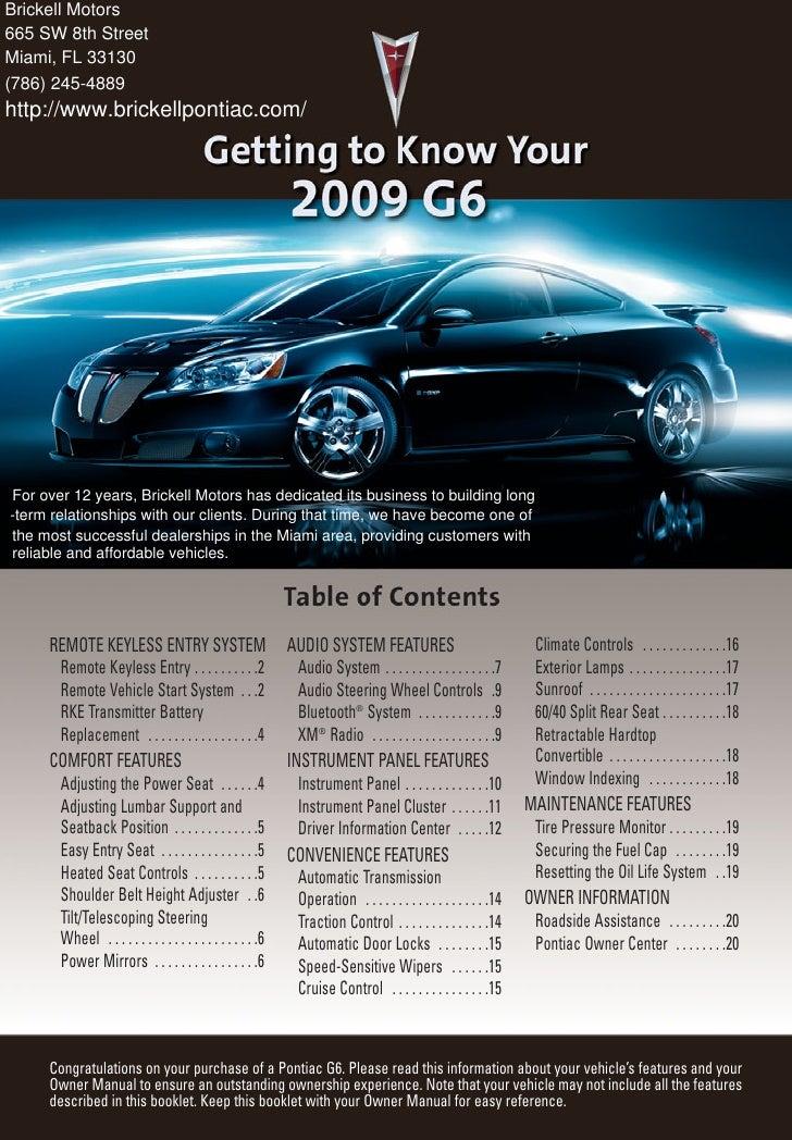 2010 pontiac g6 miami rh slideshare net 2010 pontiac g6 owner's manual pdf Pontiac G6 Repair Guide