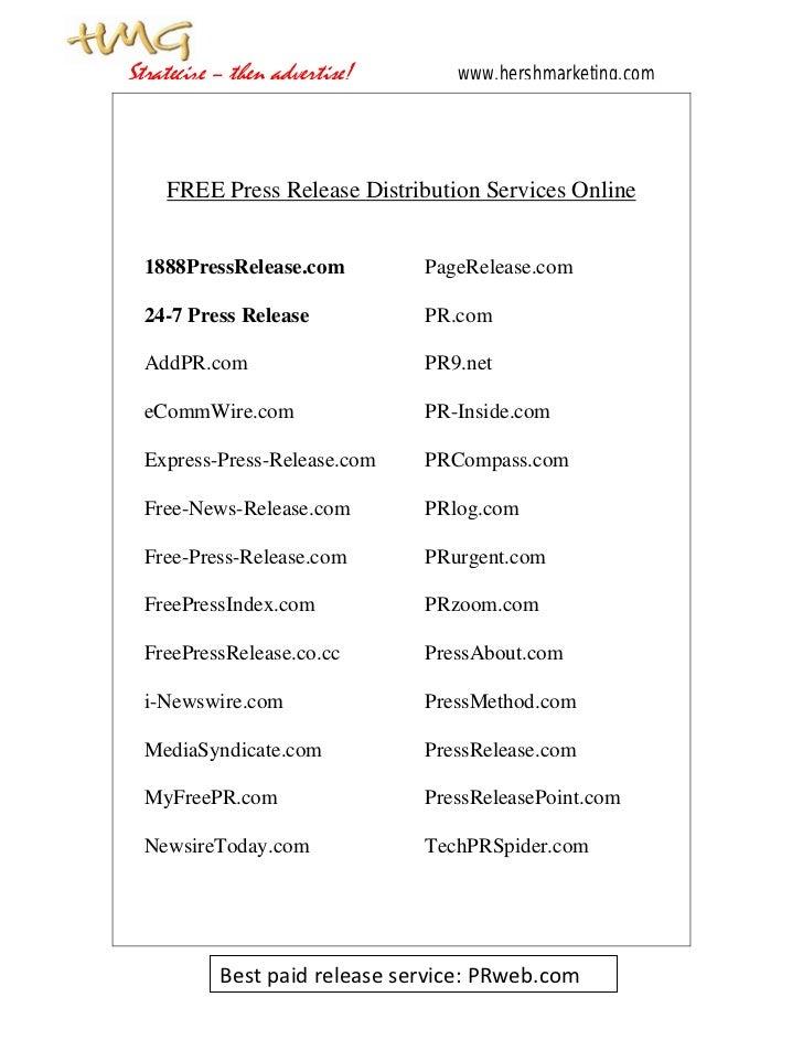 Strategize – then advertise!      www.hershmarketing.com     FREE Press Release Distribution Services Online  1888PressRel...