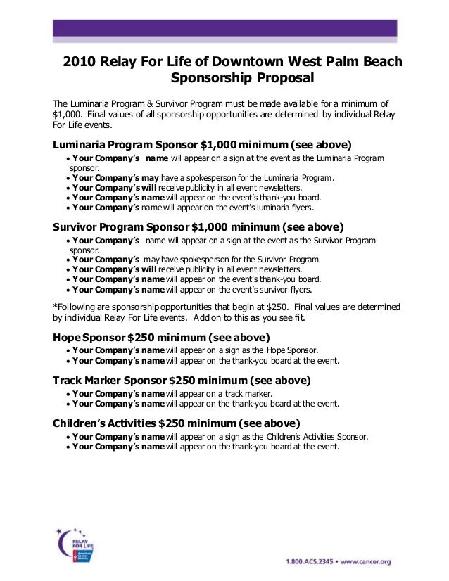 Sponsor Proposal 2011. 2010 Proposal And Committment With Template
