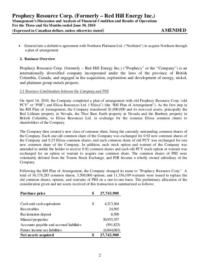 2010 Q2 md&a & interim financial statements Slide 2