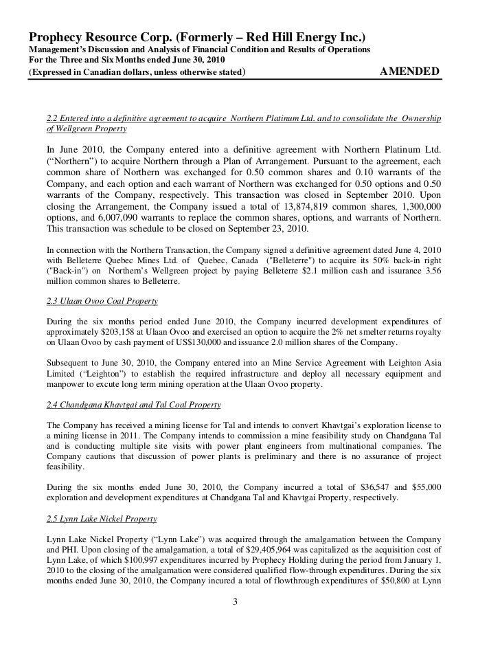 2010 Q2 md&a & interim financial statements Slide 3
