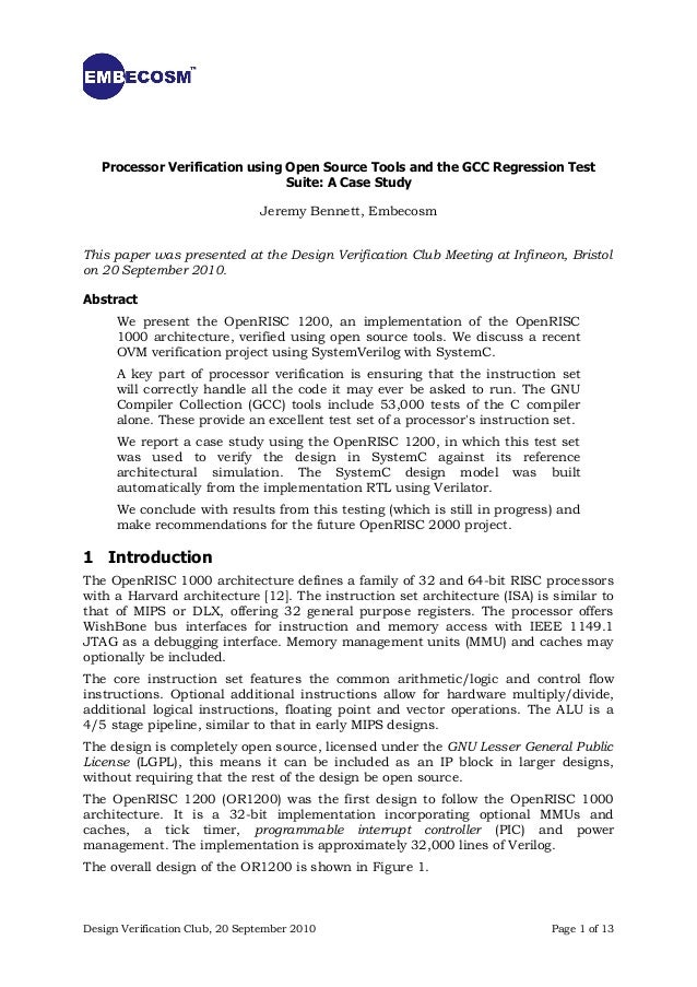 Processor Verification using Open Source Tools and the GCC Regression Test                                Suite: A Case St...