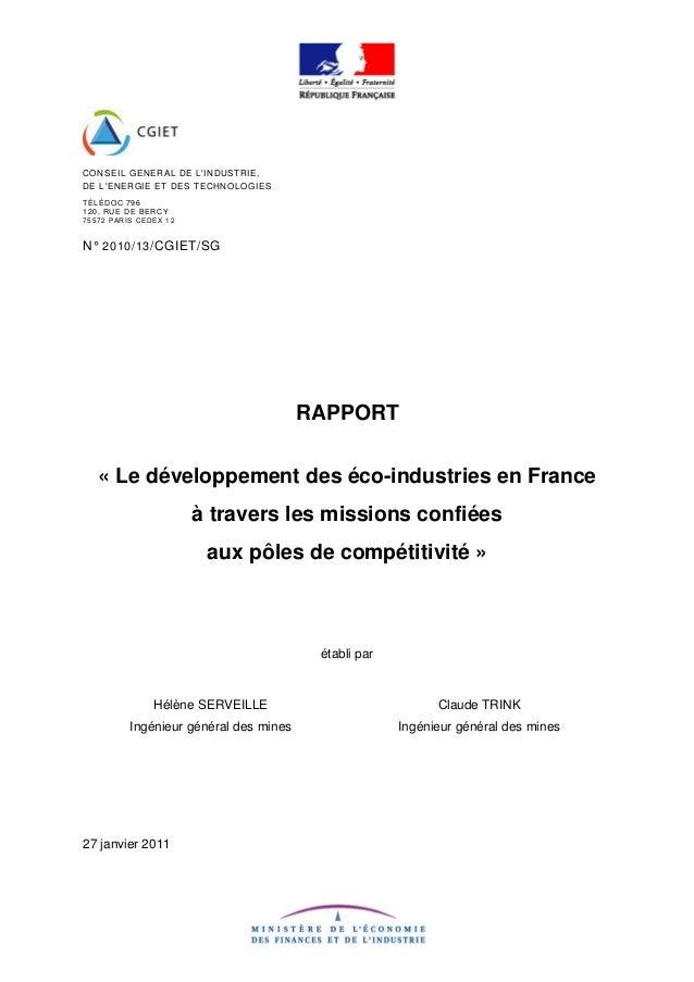 CONSEIL GENERAL DE L'INDUSTRIE, DE L'ENERGIE ET DES TECHNOLOGIES TÉLÉDOC 796 120, RUE DE BERCY 75572 PARIS CEDEX 12 N° 201...