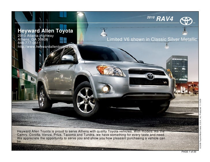 2010 heyward allen toyota rav4 athens ga. Black Bedroom Furniture Sets. Home Design Ideas