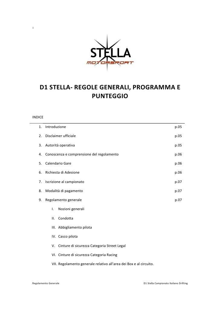 1          D1 STELLA- REGOLE GENERALI, PROGRAMMA E                     PUNTEGGIO  INDICE      1. Introduzione             ...