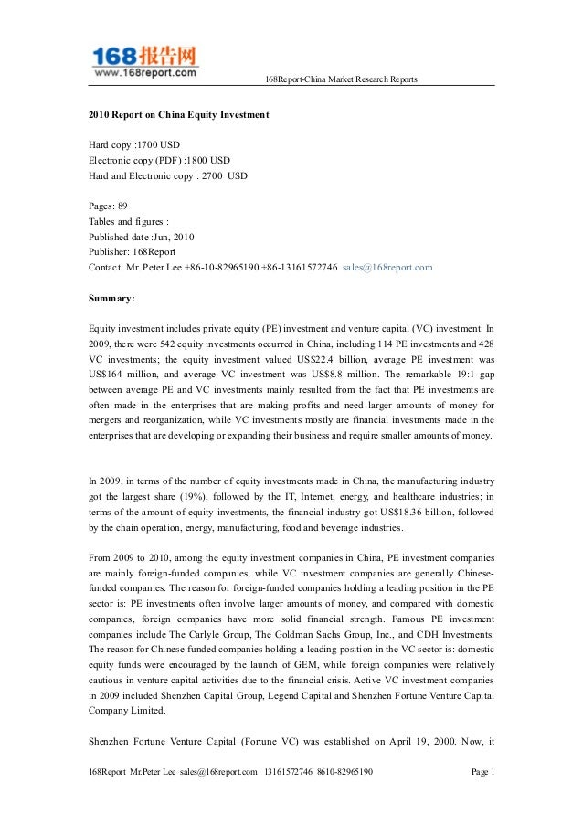 168Report-China Market Research Reports 2010 Report on China Equity Investment Hard copy :1700 USD Electronic copy (PDF) :...