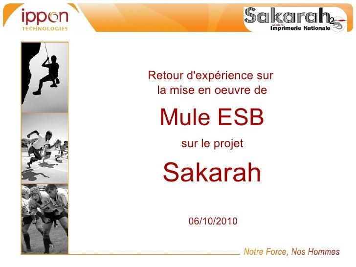 Retour dexpérience sur la mise en oeuvre de  Mule ESB      sur le projet  Sakarah       06/10/2010