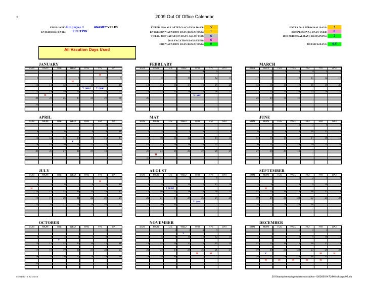 2010 sample employee absence tracker