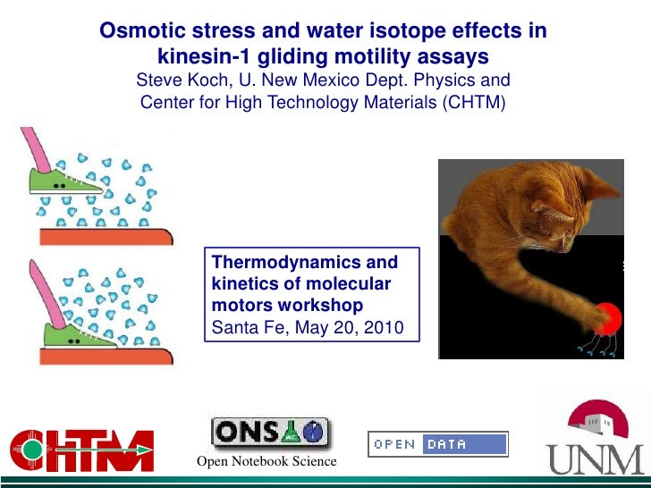 Osmotic stress and water isotope effects in  kinesin-1 gliding motility assays Steve Koch, U. New Mexico Dept. Physics and...