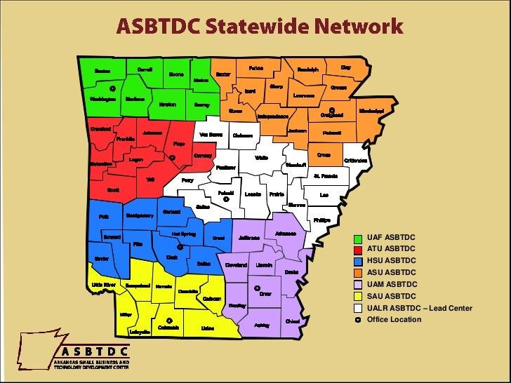 ASBTDC Statewide Network<br />UAF ASBTDC<br />ATU ASBTDC<br />HSU ASBTDC<br />ASU ASBTDC<br />UAM ASBTDC<br />SAU ASBTDC<b...